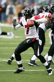 Michael Vick about to pass.