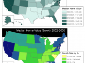 Median home values in the United States of America in 2005