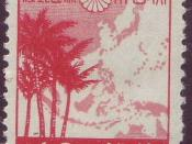 10 sen Japanese postage stamp depicting a map of the Greater East Asia Co-Prosperity Sphere.
