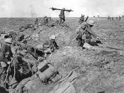 British infantry advancing near Ginchy during the Battle of Morval, 25 September. Photo by Ernest Brooks.