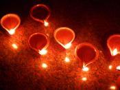 The diwali diyas at Diwali Celebrations at Bangalore 2010