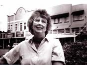 English: Judy Keall MP, outside Leader and Watt, Main Street, Foxton