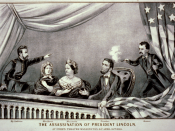 Lithograph of the Assassination of Abraham Lincoln. From left to right: Henry Rathbone, Clara Harris, Mary Todd Lincoln, Abraham Lincoln, and John Wilkes Booth.