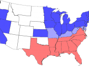 Map of the division of the states during the Civil War. Blue represents Union states, including those admitted during the war; light blue represents border states; red represents Confederate states. Unshaded areas were not states before or during the Civi