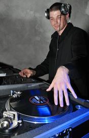 English: Club Eifel disc jockey DJ Blaze plays music at the 2009 Air Force Ball. (U.S. Air Force photo/Airman 1st Class Nick Wilson Spangdahlem Air Base, Germany)