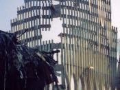 The outer skin of World Trade Center Tower Two that remained standing after an Islamist terrorist attack orchestrated by Al-Qaeda.