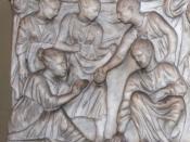 English: roman girls playing Deutsch: Römische Mädchen, das Knöchelspiel spielend, auf einem Kindersakrophag im Vatikanischen Museum