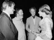 English: Farah Diba greets John Cage and Merce Cunningham at the 1972 festival.