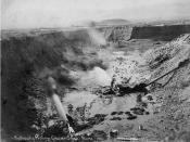English: Mining with hydralic equipment near Nome, Alaska 1910
