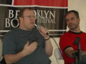 English: Fantasy authors Anton Strout and Peter V. Brett, speaking on a panel on the use of New York City as a setting in science fiction and fantasy.