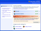 Windows Security Center was added in Service Pack 2.
