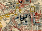 """Map of Westminster from Charles Booth's Labour and Life of the People. Volume 1: East London (London: Macmillan, 1889). The streets are colored to represent the economic class of the residents: Yellow (""""Upper-middle and Upper classes, Wealthy""""), red ("""