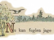 English: Bird in flight and first stanza of a poem for children. ‪Norsk (bokmål)‬: Illustrasjon fra Norsk Billedbog for børn.