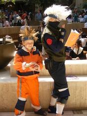Cosplay photo taken at AWA 14. Naruto Uzumaki and Kakashi Hatake in the lobby. (Naruto)