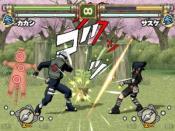 Kakashi Hatake facing Sasuke Uchiha in Naruto: Narutimate Portable.