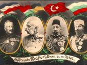 WW1 postcard showing Central Powers monarchs: Germany (Prussia), Austria-Hungary, Ottomans, Bulgaria