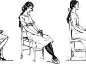 Français : Fig. 57. — Bonne et mauvaises attitudes en station assise. A droite: bonne attitude, poitrine ouverte. A gauche : deux mauvaises attitudes avec le dos arrondi, qui amènent fatalement la voussure du dos lorsqu'elles sont habituelles et continues