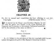 Cover Page of the Copyright Act 1911, also known as the Imperial Copyright Act of 1911