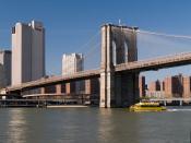 English: The western ramp and pylon of Brooklyn Bridge, New York City