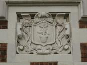 One of several terracotta insignia on Garfield High School, Seattle, Washington, this one for