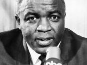 English: Publicity photo of Jackie Robinson as an ABC broadcaster for