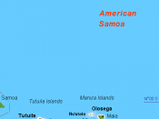 English: Map (rough) American Samoa, US, own work composed from various mapreferences