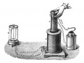 Faraday's experiment with induction between coils of wire Poyser, Arthur William (1892), Magnetism and electricity: A manual for students in advanced classes. London and New York; Longmans, Green, & Co., p. 285, fig. 248. Retrieved August 6, 2009.