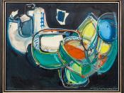 """Painting by Hans Hofmann (1880-1966): Shifting Planes, 1947 (Oil on wooden panel)"" / Galerie Hans Mayer / Art Basel Hong Kong 2013 / SML.20130523.6D.13872"