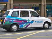 English: A Leeds Taxi with advertisements for Barclays bank as seen on Boar Lane in Leeds, West Yorkshire, UK.