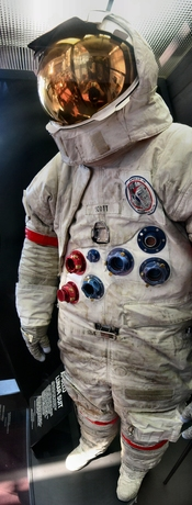 Dave Scott's space suit on display at the NASM.