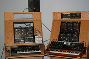 Moog sound room : moogmusic.com photos by hyreone@Flickr ;Hyreone says : : This was the Moog sound room when I visited. The outputs of the Moogs were routed through the Moogerfoogers for demonstration purposes. I didn't get a picture of the Etherwave Pro,
