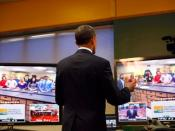 English: President Obama teleconferences from Northern Michigan University with Negaunee (Michigan) High School students
