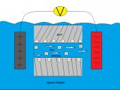 English: Diagram depicting electro-osmosis through a glass capillary submerged in an aqueous solution.