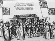 The casket of Sir Philip Sidney, Plate 16 from Procession at the Obsequies of Sir Philip Sidney by Thomas Lant, engraved by Theodor de Bry