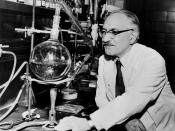 Dr. Selman Waksman, half-length portrait, facing left at work in the laboratory / World Telegram & Sun photo by Roger Higgins.
