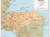 Shaded relief map of Honduras, in year 1985, showing more than 45 Honduras towns, plus 40 bordering towns, in original JPEG format, 1249 x 1033 pixel, 246kb (labeled for large resizing > 600px width).