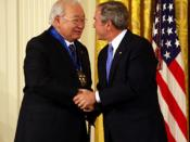 N. Scott Momaday (left) receiving the National Medal of Arts from George W. Bush in 2007.
