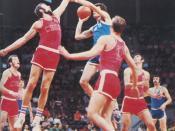 XX. Olympic games Munich 1972 Krešimir Ćosić of Yugoslavia (blue shirt) vs. Petr Novicky of Czechoslovakia