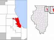 A map of the city of Chicago showing the connection into DuPage County for O'Hare International Airport.
