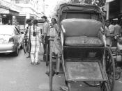 English: this is a hand pulled rickshaw in kolkata, I took the picture in summer 2004