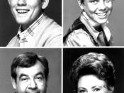 Photo of the Cunningham family from the television program Happy Days. Top,from left: Ron Howard (Richie Cunningham), Erin Moran (Joanie Cunningham). Bottom, from left: Tom Bosley (Howard Cunningham), Marion Ross (Marion Cunningham).