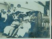 On-deck image of passengers on RMS Carpathia during a 1914 overseas tour led by Father Blasius Zeiser