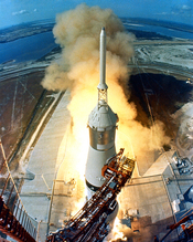 The Saturn V carrying Apollo 11 took several seconds to clear the launch tower on 16 July 1969.