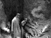High resolution scan of engraving by Gustave Doré illustrating Canto XIX of Divine Comedy, Inferno, by Dante Alighieri. Caption: Dante addresses Pope Nicholas III