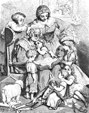 A picture by Gustave Doré of Mother Goose reading written (literary) fairy tales