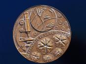 Nobel prize medal awarded to Alexander Fleming, 1945.