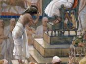 English: Joseph and His Brethren Welcomed by Pharaoh, watercolor by James Tissot