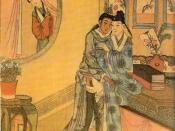A woman spying on a pair of male lovers. China, Qing dynasty.