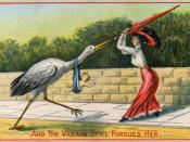 English: A woman swats away the stork which has brought her her child. Caption: