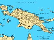 A location map of New Guinea. Finschhafen is shown on the north-east coast, opposite New Britain.